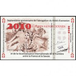 Billet savoisien - 2010 Livres savoisiennes - 2010 - Type b - Etat : NEUF