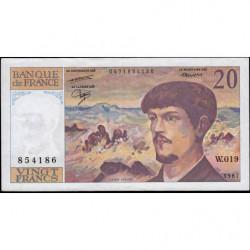 F 66-08 - 1987 - 20 francs - Debussy - Série W.019 - Remplacement - Etat : TTB+