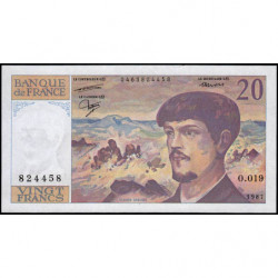 F 66-08 - 1987 - 20 francs - Debussy - Série O.019 - Etat : SUP+