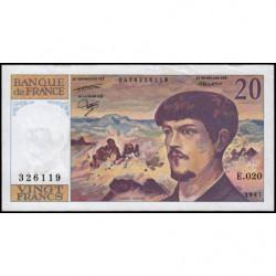 F 66-08 - 1987 - 20 francs - Debussy - Série E.020 - Etat : TTB