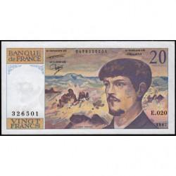 F 66-08 - 1987 - 20 francs - Debussy - Série E.020 - Etat : SUP
