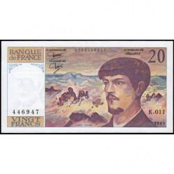 F 66-04 - 1983 - 20 francs - Debussy - Série K.011 - Etat : TTB
