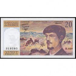 F 66-08 - 1987 - 20 francs - Debussy - Série H.020 - Etat : TTB+