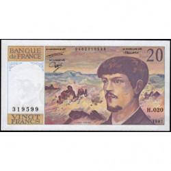 F 66-08 - 1987 - 20 francs - Debussy - Série H.020 - Etat : SUP+