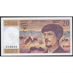 F 66-08 - 1987 - 20 francs - Debussy - Série H.020 - Etat : SUP