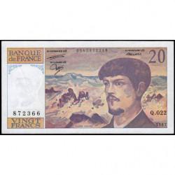 F 66-08 - 1987 - 20 francs - Debussy - Série Q.022 - Etat : TTB+