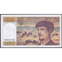 F 66-08 - 1987 - 20 francs - Debussy - Série T.022 - Etat : TTB+