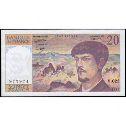 F 66-08 - 1987 - 20 francs - Debussy - Série V.022 - Etat : TTB