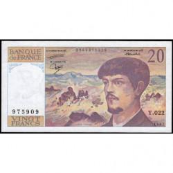 F 66-08 - 1987 - 20 francs - Debussy - Série Y.022 - Etat : TTB