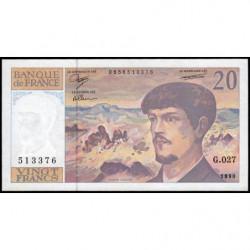 F 66bis-01 - 1990 - 20 francs - Debussy - Série G.027 - Etat : NEUF