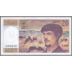 F 66bis-01 - 1990 - 20 francs - Debussy - Série C.028 - Etat : SPL