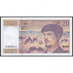 F 66bis-02 - 1991 - 20 francs - Debussy - Série W.033 - Remplacement - Etat : SUP