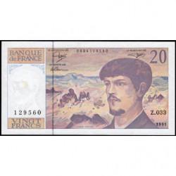 F 66bis-02 - 1991 - 20 francs - Debussy - Série Z.033 - Etat : TTB+