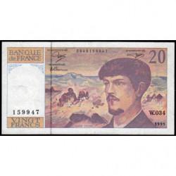 F 66bis-02 - 1991 - 20 francs - Debussy - Série W.034 - Remplacement - Etat : TB+