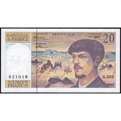 F 66bis-3 - 1992 - 20 francs - Debussy - G.035 - Etat : TTB