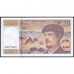 F 66bis-03 - 1992 - 20 francs - Debussy - Série Q.035 - Etat : NEUF