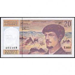 F 66bis-03 - 1992 - 20 francs - Debussy - T.035 - Etat : SPL