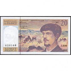 F 66bis-03 - 1992 - 20 francs - Debussy - Série J.036 - Etat : SUP