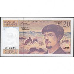 F 66bis-03 - 1992 - 20 francs - Debussy - O.036 - Etat : SPL