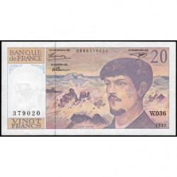 F 66bis-03 - 1992 - 20 francs - Debussy - Série W.036 - Remplacement - Etat : TTB