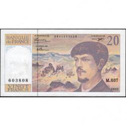 F 66bis-03 - 1992 - 20 francs - Debussy - Série M.037 - Etat : SUP