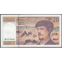F 66bis-03 - 1992 - 20 francs - Debussy - Série W.037 - Remplacement - Etat : TTB