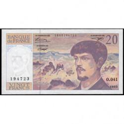F 66bis-05 - 1993 - 20 francs - Debussy - Série O.041 - Etat : TTB+