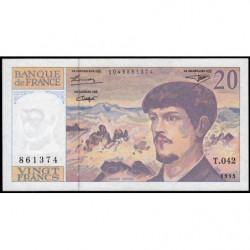 F 66bis-05 - 1993 - 20 francs - Debussy - Série T.042 - Etat : SUP