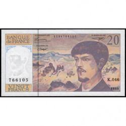 F 66bis-05 - 1993 - 20 francs - Debussy - Série K.046 - Etat : SUP