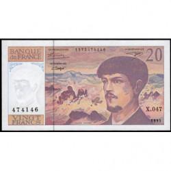 F 66ter-01 - 1995 - 20 francs - Debussy - Série X.047 - Etat : SPL