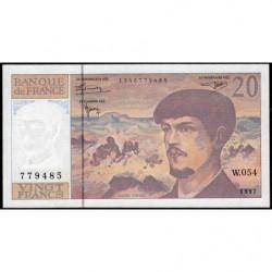 F 66ter-02 - 1997 - 20 francs - Debussy - Série W.054 - Remplacement - Etat : TTB