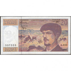 F 66ter-02 - 1997 - 20 francs - Debussy - Série A.055 - Etat : TTB-