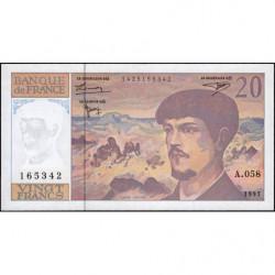 F 66ter-02 - 1997 - 20 francs - Debussy - A.058 - Etat : NEUF