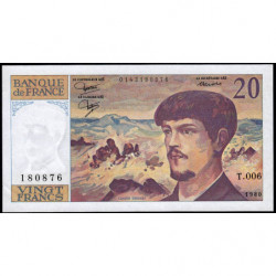 F 66-01 - 1980 - 20 francs - Debussy - Série T.006 - Etat : SUP