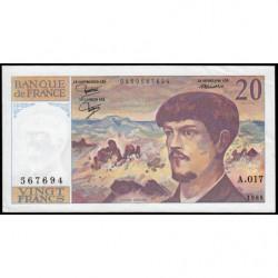 F 66-07 - 1986 - 20 francs - Debussy - Série A.017 - Etat : SUP