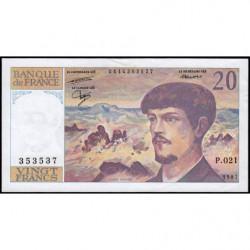 F 66-08 - 1987 - 20 francs - Debussy - Série P.021 - Etat : SUP