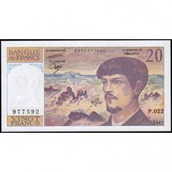 F 66-08 - 1987 - 20 francs - Debussy - Série P.022 - Etat : SPL