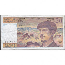 F 66-09 - 1988 - 20 francs - Debussy - Série J.023 - Etat : TB