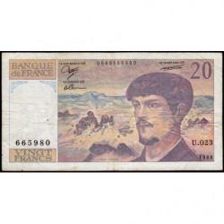 F 66-09 - 1988 - 20 francs - Debussy - U.023 - Etat : TB