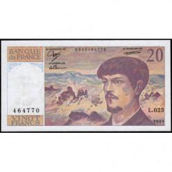 F 66-10 - 1989 - 20 francs - Debussy - Série L.025 - Etat : SUP
