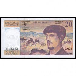 F 66bis-01 - 1990 - 20 francs - Debussy - Série Z.028 - Etat : SPL