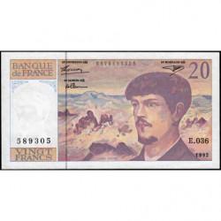 F 66bis-03 - 1992 - 20 francs - Debussy - Série E.036 - Etat : SUP+
