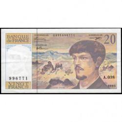 F 66bis-04 - 1993 - 20 francs - Debussy - Série A.038 - Etat : TTB