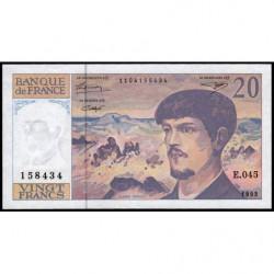 F 66bis-05 - 1993 - 20 francs - Debussy - Série E.045 - Etat : SPL