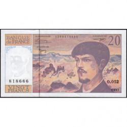 F 66ter-02 - 1997 - 20 francs - Debussy - Série O.052 - Etat : SUP+