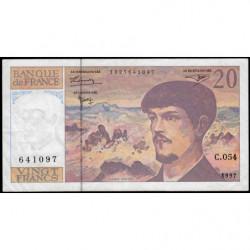 F 66ter-02 - 1997 - 20 francs - Debussy - Série C.054 - Etat : TTB