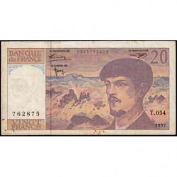 F 66ter-02 - 1997 - 20 francs - Debussy - Série T.054 - Etat : TB-