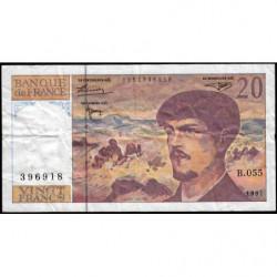 F 66ter-02 - 1997 - 20 francs - Debussy - Série B.055 - Etat : B+