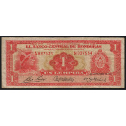 Honduras - Pick 45b - 1 lempira - Série N - 28/12/1951 - Etat : TB-