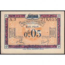 R.C.F.T.O. - Pirot 135-1 - Série A.3 - 5 centimes - 1923 - Etat : SUP+